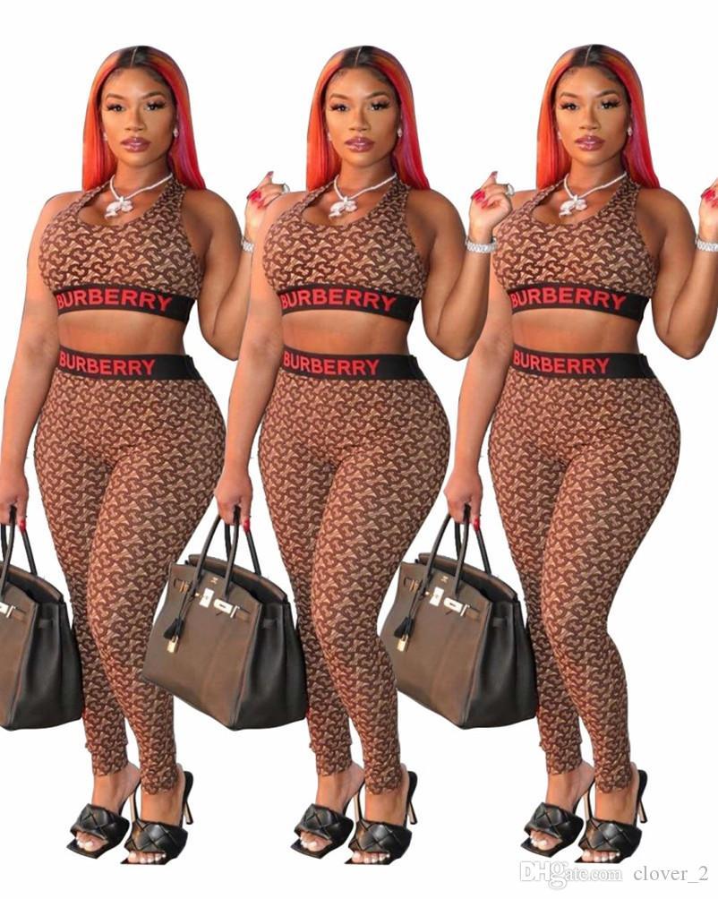 Vêtements pour femmes pantsuit sans manches tenues deux sweat-shirt de costume de sport de jogging sportswear piece set collants conviennent sport klw3389