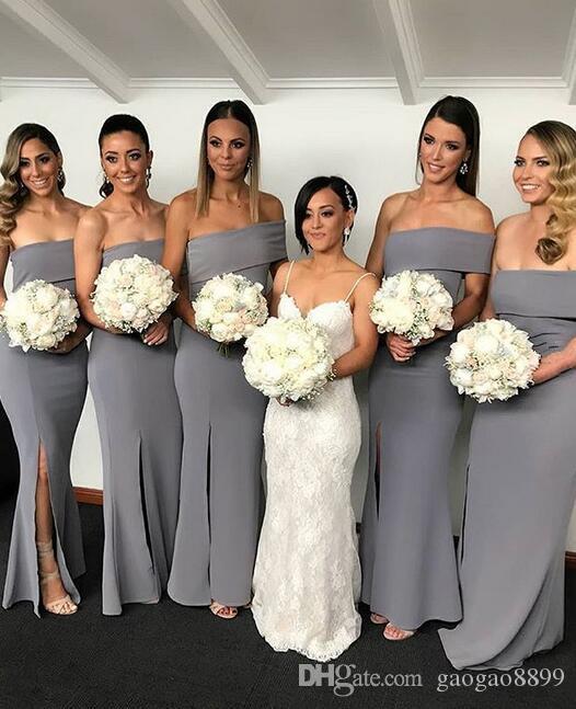 2019 Afrika mütevazı Mermaid Gelinlik Modelleri seksi bölünmüş Hizmetçi Onur Törenlerinde Ucuz özel düzensiz boyun Custom Made Düğün Konuk Elbiseleri