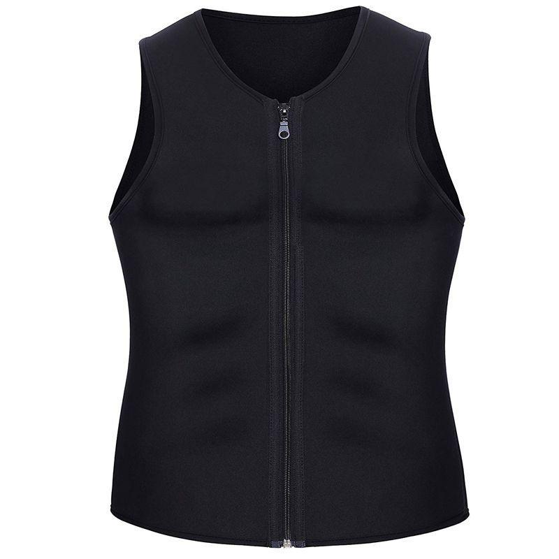 Hombres que adelgazan la cintura Trainer chaleco para Pérdida de peso neopreno caliente corsé talladora del cuerpo de la cremallera Sauna Tank Top Trainer Entrenamiento Camisa-S