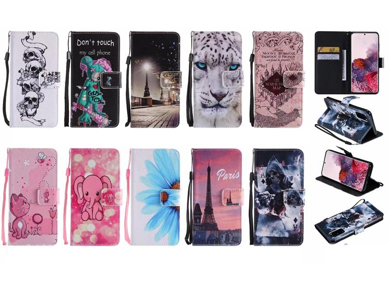 Leather Wallet Case For Samsung S20 Ultra A71 A51 Sony Xperia 20 XZ5 Leopard Paris Tiger Cartoon Butterfly Flower Skull Feather Flip Cover