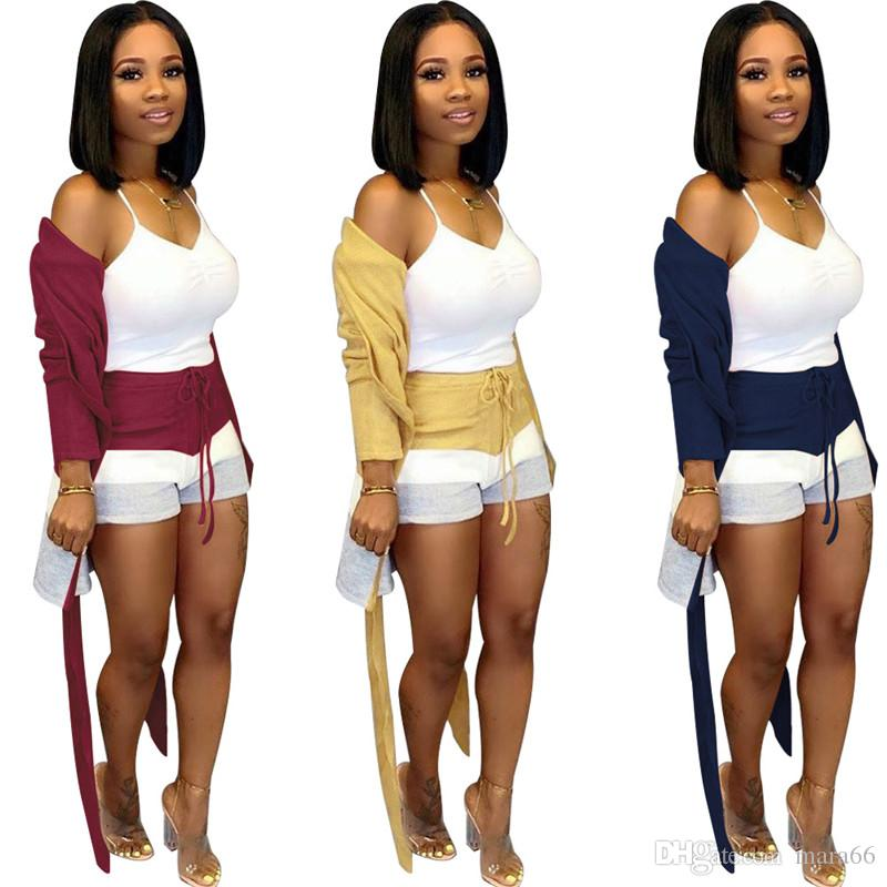 Women sweater two piece set long sleeve bandage cardigan panelled bodycon mini shorts designer summer fall clothing fashion casual suit 1361