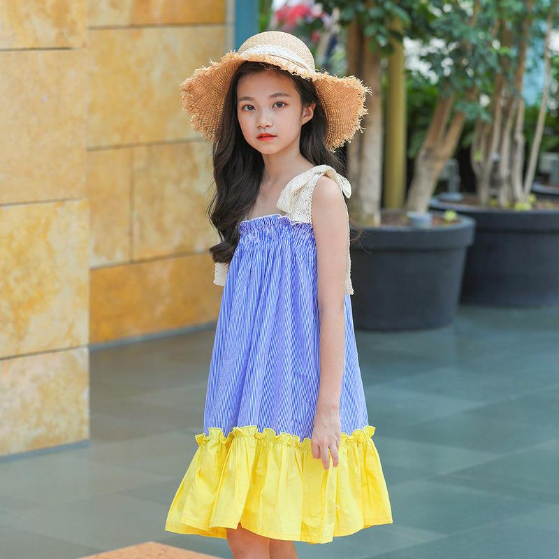 2019 Clothes Girls 2019 Summer Dress Color Patch Work One Piece Sundress  Holiday Beach Strapped Dress Age 6 8 10 11 12 14 Years From Gaozang,  \u0026Price;