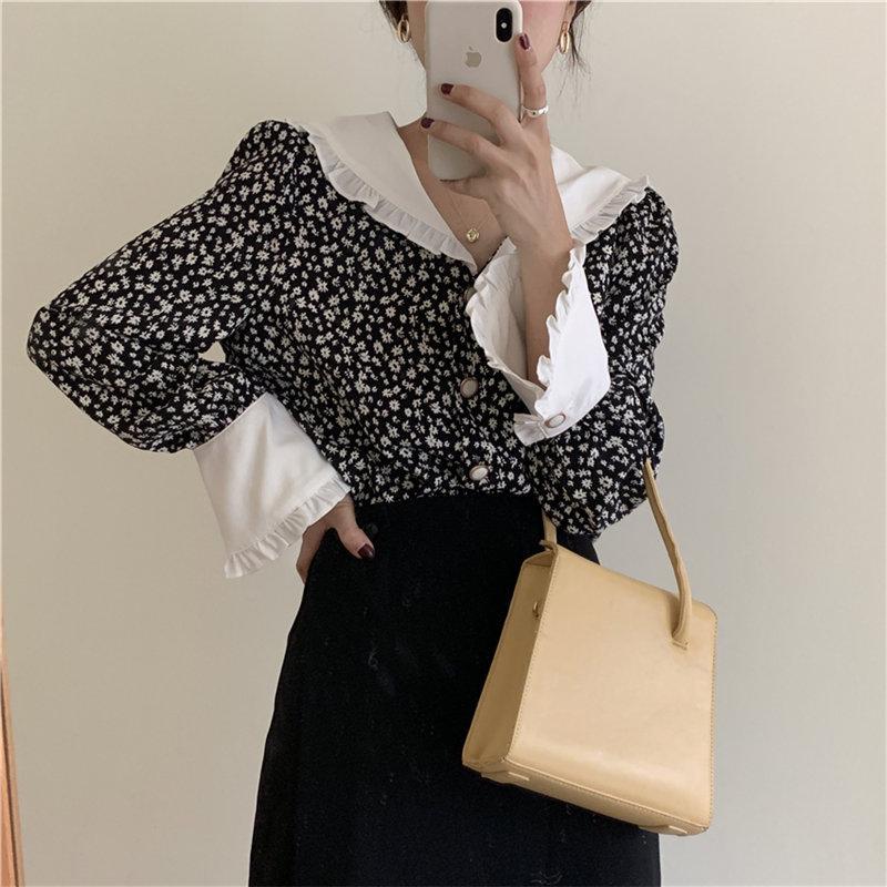 Romântico Print-florais 2020 Ruffles Feminine Vintage elegante Casual Chic solto Moda Doce All-combinar com camisas