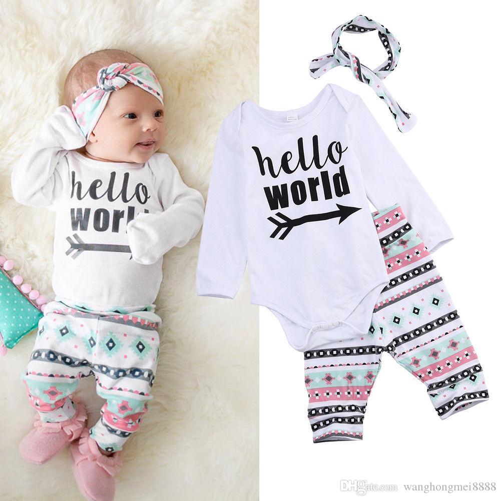 Neonata Toddler Baby Girl Hello World Pagliaccetto Abiti manica lunga Tuta + Pantaloni floreali Set fascia (0-6 mesi)