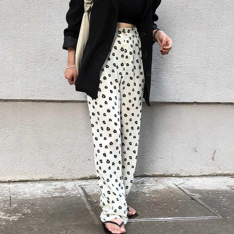Çiçek Geniş Bacak Pantolon Bayan Yüksek Bel Gevşek Casual Düz Kore Elastik Bel Pantolon Artı boyutu Siyah Çiçek Pantolon Kadın