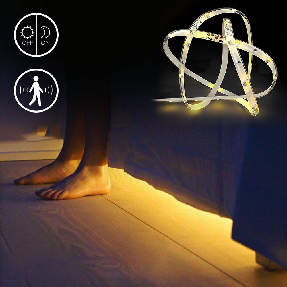 인체 유도 침대 빛, 유연한 LED 빛 스트립 모션 센서 자동 셧다운 타이머와 밤 빛 머리맡 램프 조명