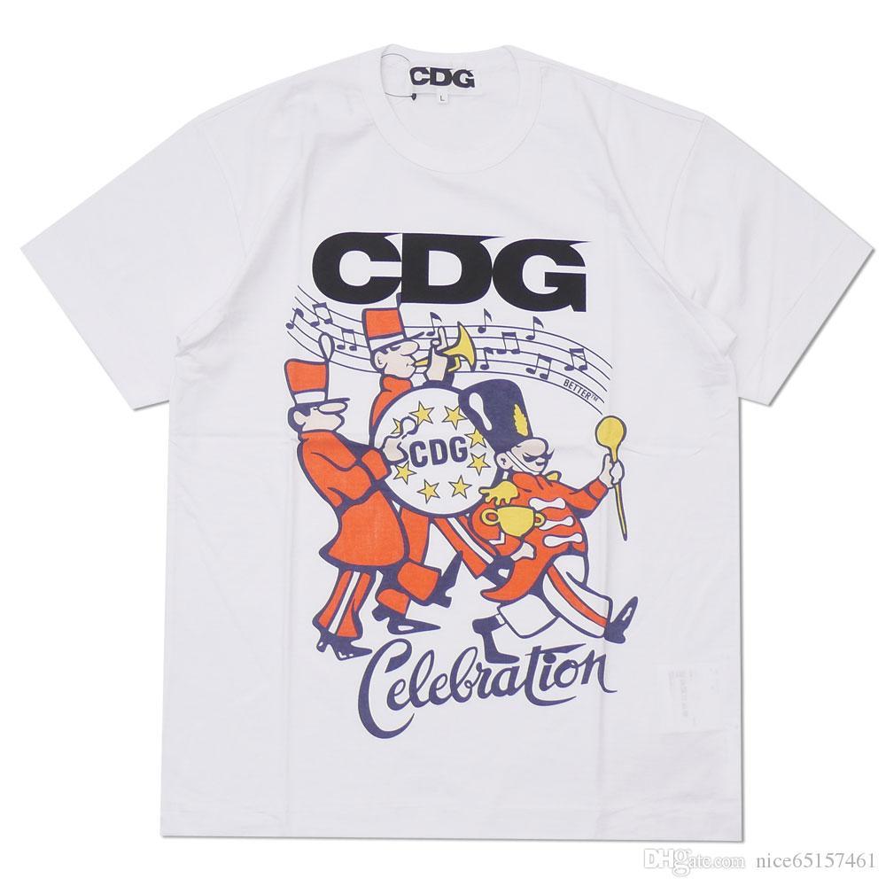 Juega hombres de la moda CDG letras impresas camiseta de Hip Hop CDG Calle Camisetas para hombre 100% algodón par marea T Camisa ocasional del verano