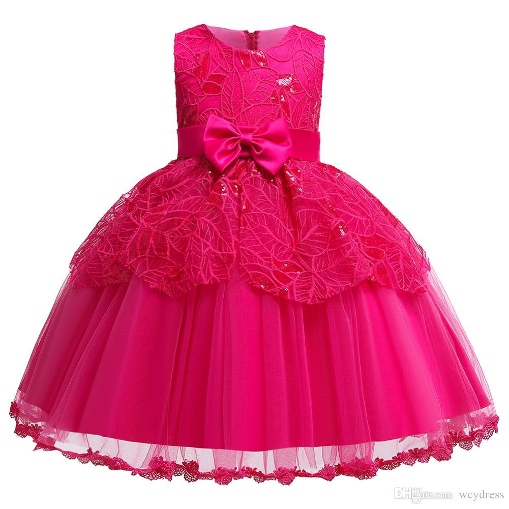 Brand New Organza O Ansatz Sleeveless Blumen-Mädchen kleiden Spitzen Perlen mit schönen Bogen-formalen Partei-Mädchen-Kleidern