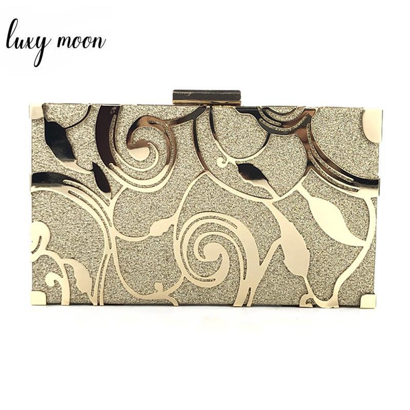 Gold Kupplungs-Geldbeutel-Damen-Handtaschen Frauen Hochzeit Schultertasche Qualitäts-Metallhohl Design Hand Bankett ZD1233 Y200520