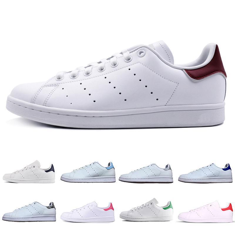 Новый дизайнер 2019 Черный белый Высочайшее качество женщины мужчины новые туфли Стэн Мода Смит кроссовки Повседневная обувь кожаные мужские спортивные 36-44