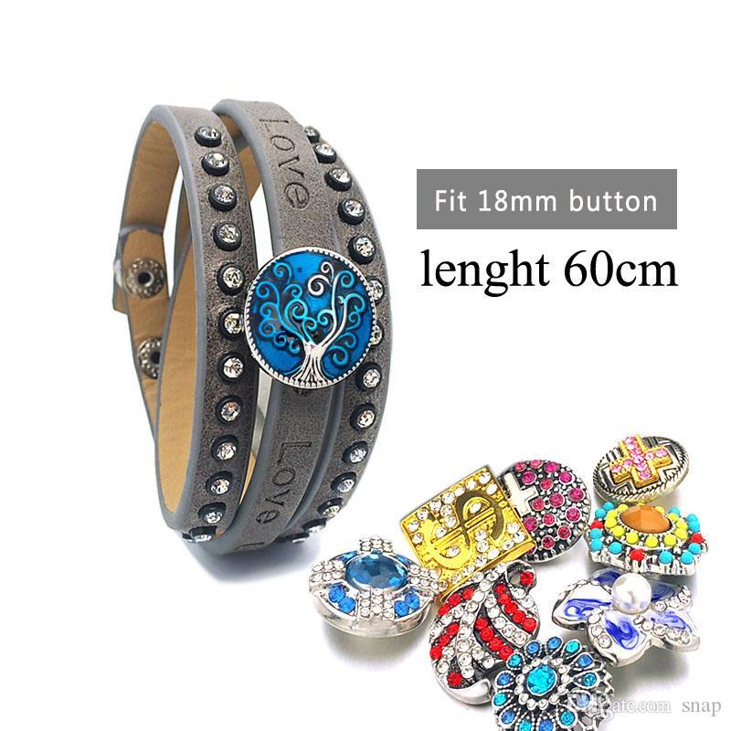 2020 aiment la mode 046 Interchangeable en cuir PU Bracelet en cristal 18mm Bouton Bangle Bijoux Charm Femmes Hommes Coffret Cadeau