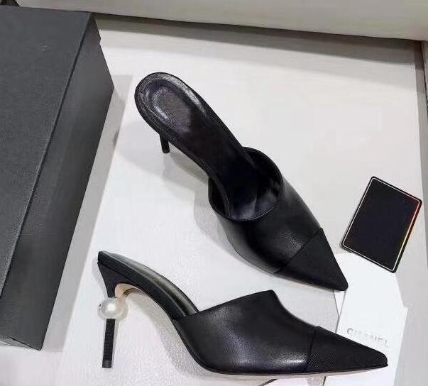 Venta caliente de las bombas del cuero genuino de la perla del vestido OL tacones altos Zapatos de señora Beige Blanco Negro individuales Buena calidad