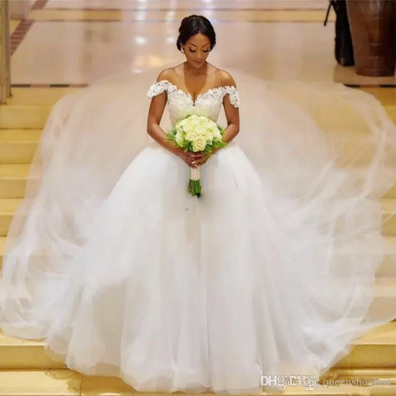 Chapel Train Plus Size Wedding Dresses Off The Shoulder Tulle Appliques Back Lace Up African Wedding Gowns A Line Cheap Bridal Dress 2019