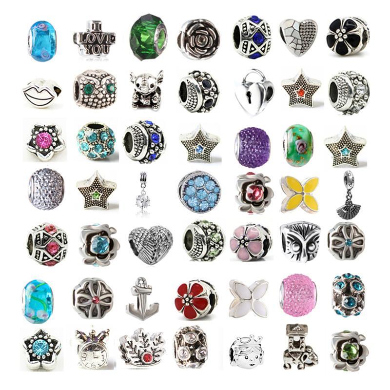 믹스 합금 크리스탈 매력 비드 유리 구슬 판도라 팔찌 목걸이에 대한 최소한 100 다른 스타일