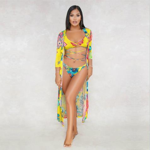 Summer Three Pieces Femmes Maillots de bain sexy imprimé floral Bikini Beach Mode pour dames Vêtements haute taille