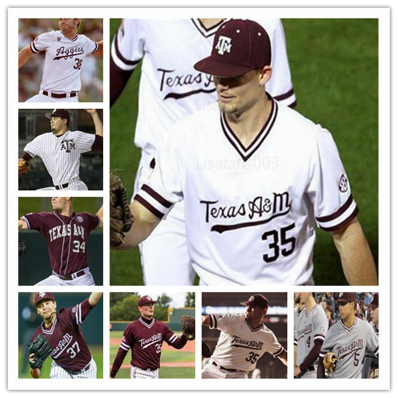 Kolej 2020 Texas AM Aggies Ray Alejo Logan Sartori Zach Deloach Colson Geisler ASA Lacy Beyzbol Erkekler Jersey 4XL