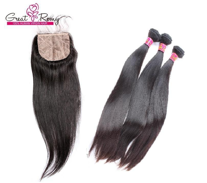 4pcs/lot Straight Brazilian Hair Weft with Silk Base Closure Brazilian Remy Hair Bundles 4x4 Lace Closure with Baby Hair Greatremy