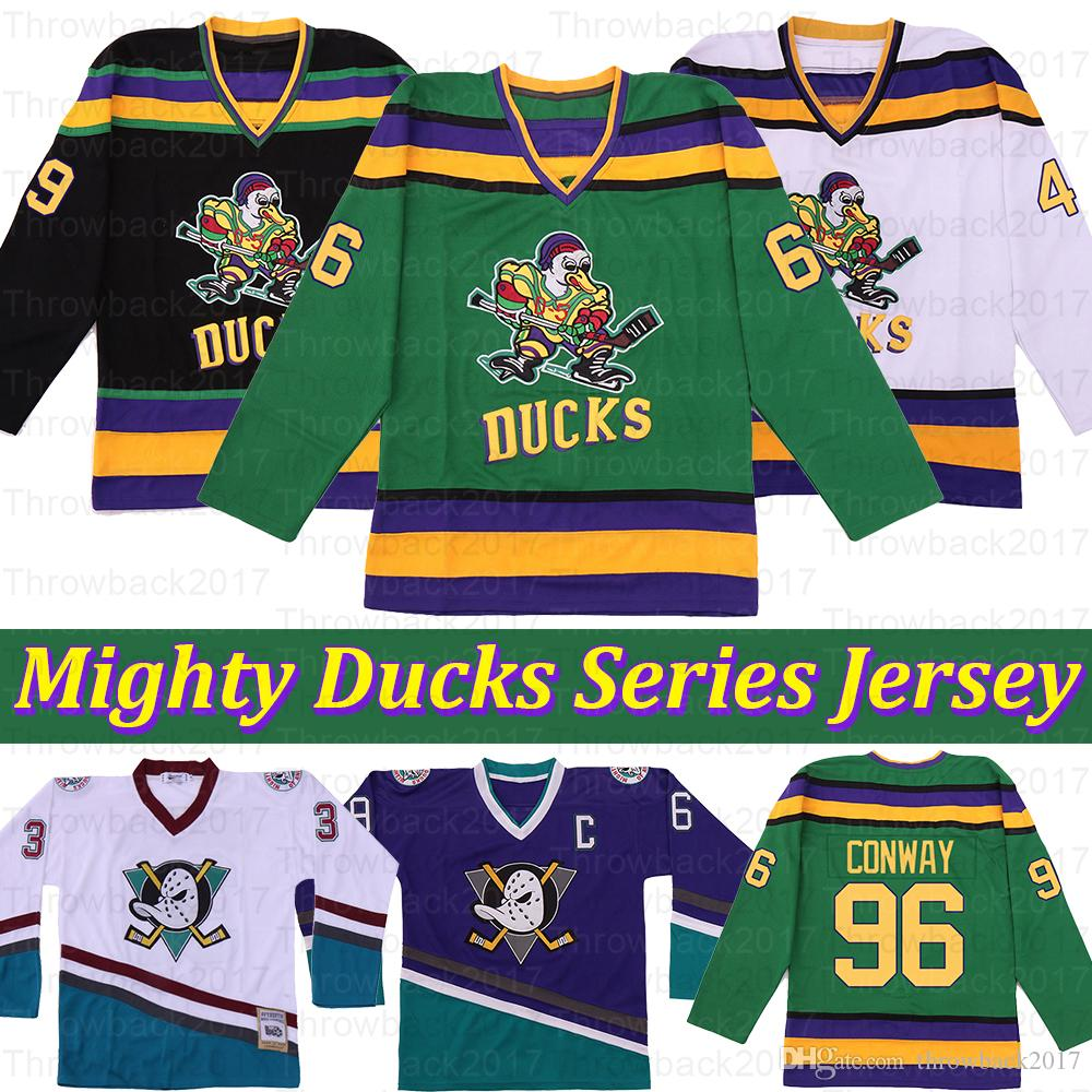 Mighty Ducks film Gordon Bombay 96 Charlie Conway 99 Adam Banche Greg Goldberg 44 Fulton Reed Hockey Jersey