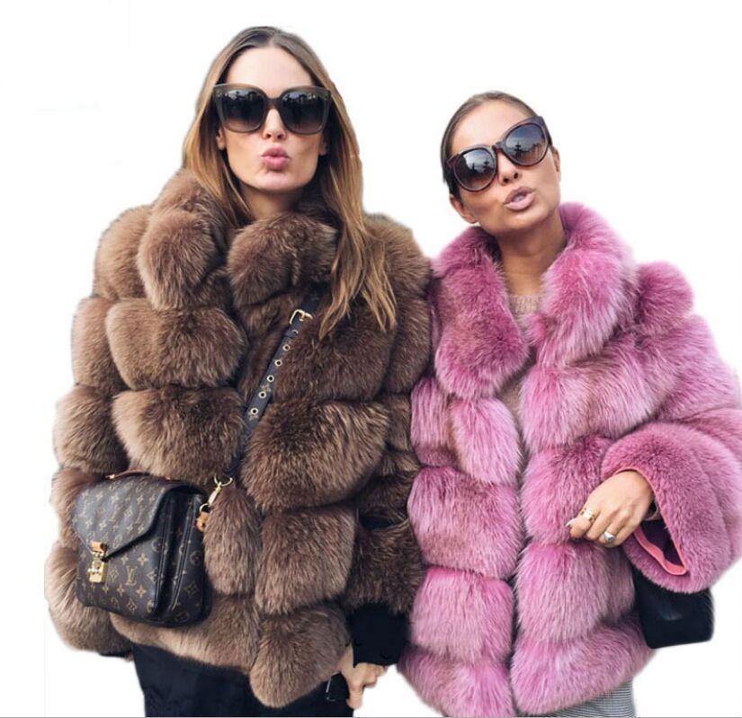 Модные женские шубы из искусственного меха лисы Новое зимнее пальто плюс размер Женская стойка с длинным рукавом из искусственного меха Куртка из меха