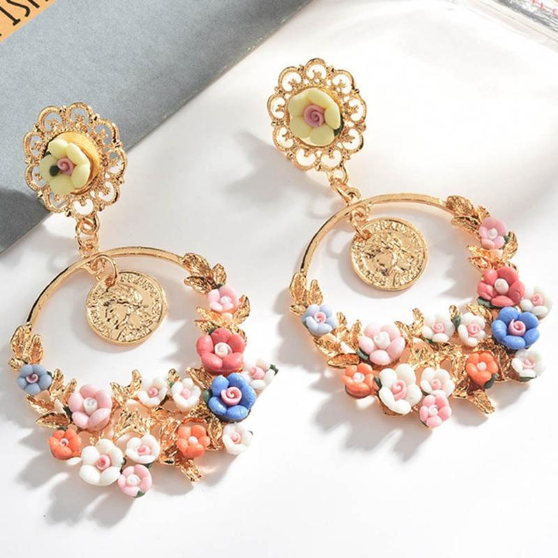 Regalos de la joyería los pendientes pendientes de la resina de la moda de Nueva Bohemia color de múltiples capas elegante de flores de ciruela fresca y hermosa de la Ronda