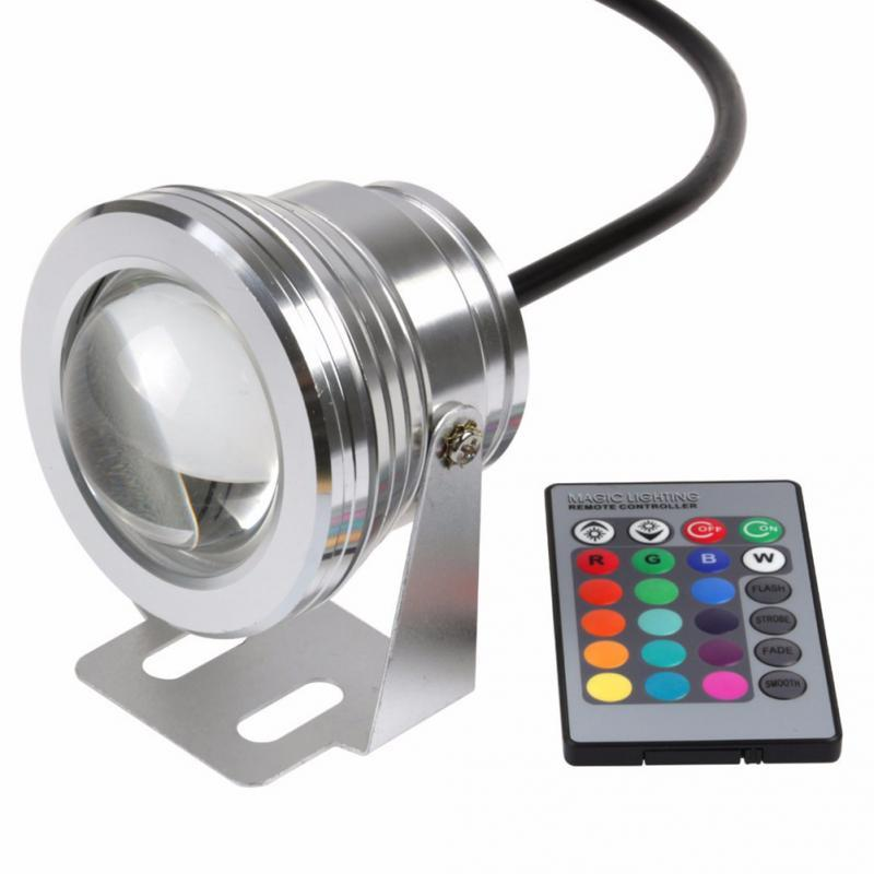 10W 12V RGB Underwater Led Light Floodlight CE/RoHS IP68 950lm 16 Colors Changing with Remote for Fountain Pool Decoration