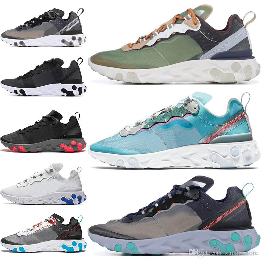 2020 React Element 55 87 Undercover Men Women Running Shoes Royal Tint black Desert Sand Blue Chill SE Taped Seams Sneakers 36-45