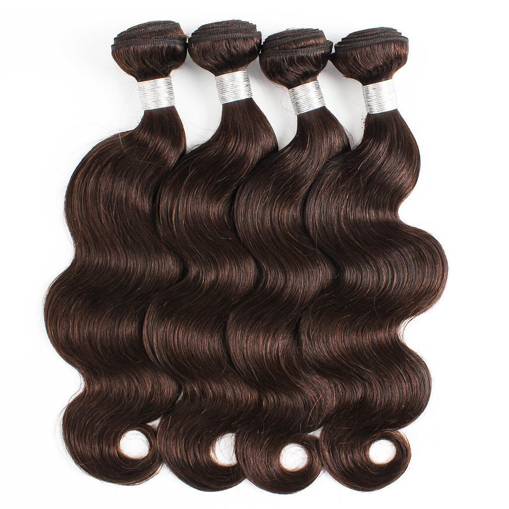 KISSHAIR темных коричневого тело волна волосы пучки 4шт / комплект цвета 2 индийского Реми бразильского перуанского выдвижения волос человека