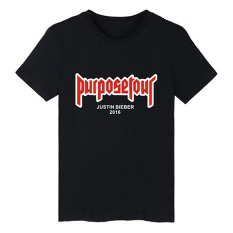 Mens estate magliette Justin Bieber Scopo Tour a maniche corte lettera stampata Tee Slim girocollo T Shirt taglia giusta 2XS-4XL
