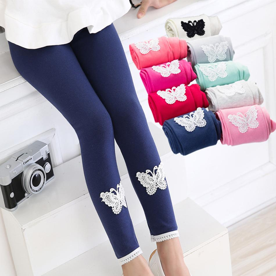 Girls Fashion Leggings Solid Butterfly Small Flower Ankle Length Elastic Waist Pants Children Pants Baby Girls Kids Tights 14 Colors