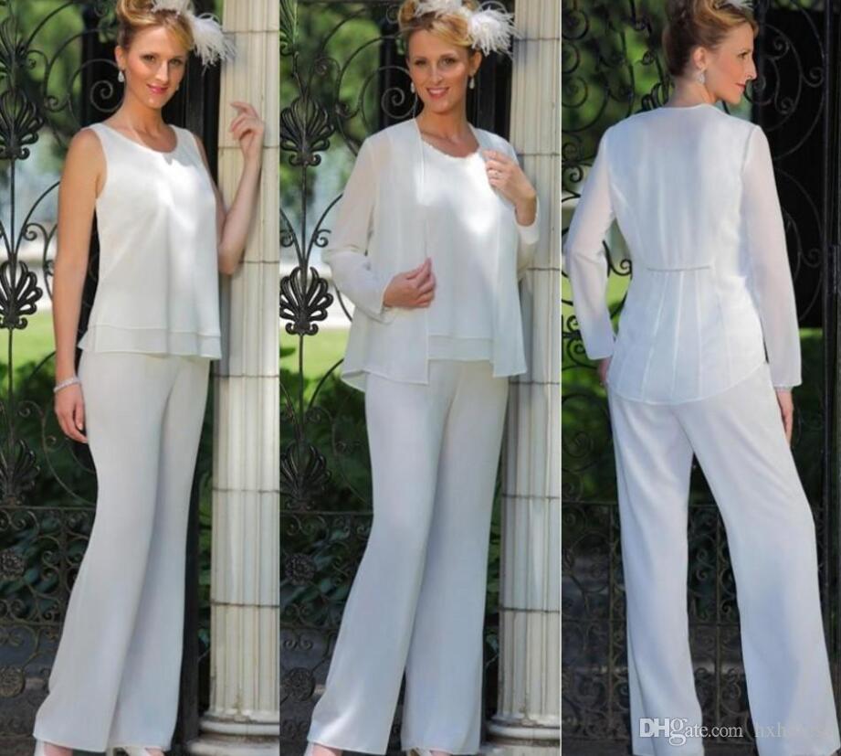 2019 Yeni Zarif Anne Gelin 3 Parça Pantolon Suit Şifon Plaj Düğün anneler Damat Törenlerinde Ucuz Kolsuz Anneler Resmi giymek
