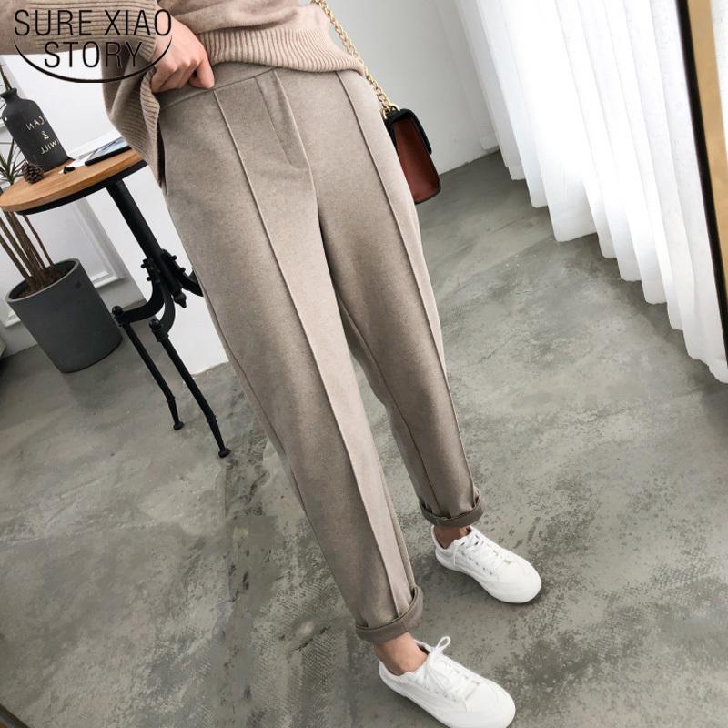 Espesar la Mujer Pantalones Lápiz 2019 Otoño Invierno más el tamaño OL del estilo de Lana trabajo femenino traje pantalón flojo Mujer Pantalones Capris 6648 50 LY191213