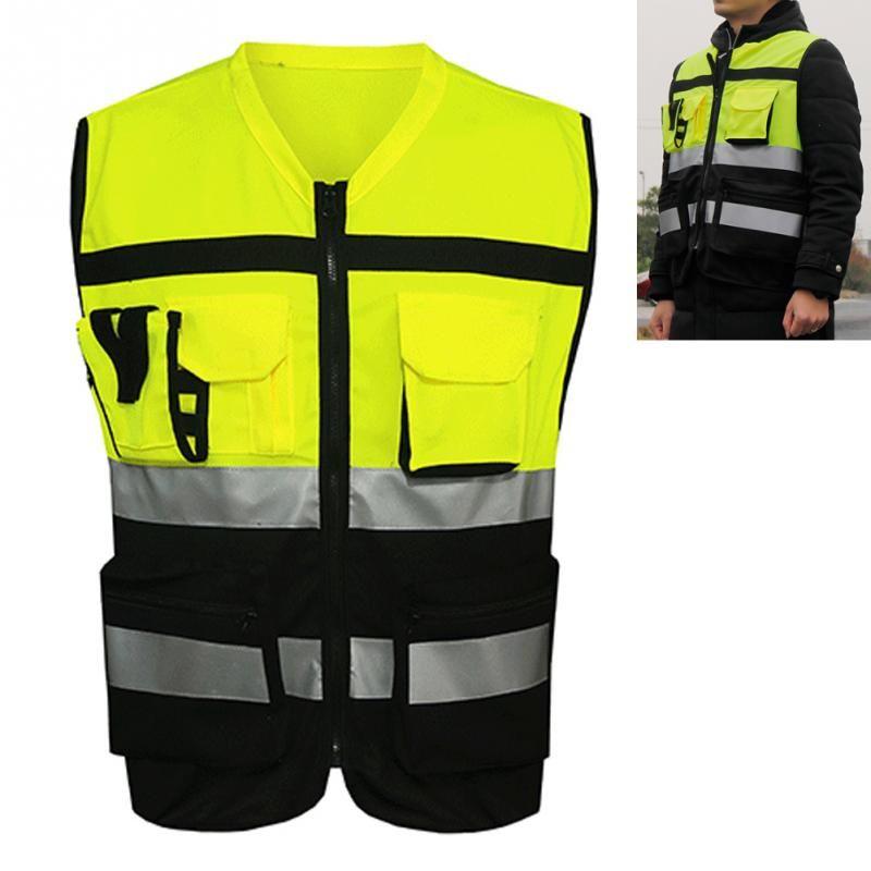 Profissional de Segurança Reflective Vest Pockets Design Colete Refletivo Alta Visibilidade Correias De Segurança Ao Ar Livre Ciclismo Zip