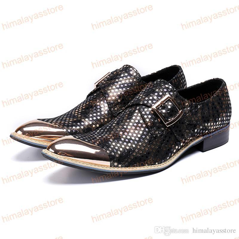 2019 Moda Punta Rotonda Uomo Formale Abito Calzature Vera pelle Monk Strap Uomo Metallo Tipped Banchetto Party Shoes