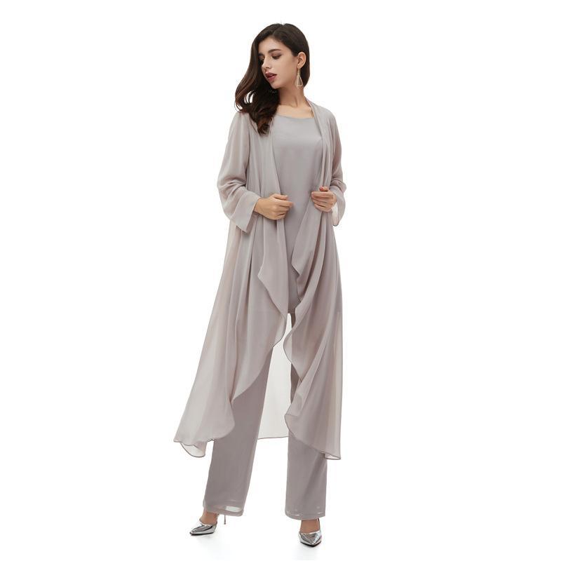 2020 Üç Parçalı Gri Anne Gelin Pantolon Takım Elbise Parti Törenlerinde Kat Uzunluk Örgün Konfeksiyon Kıyafet Özel Örgün Düğün Konuk Elbiseler