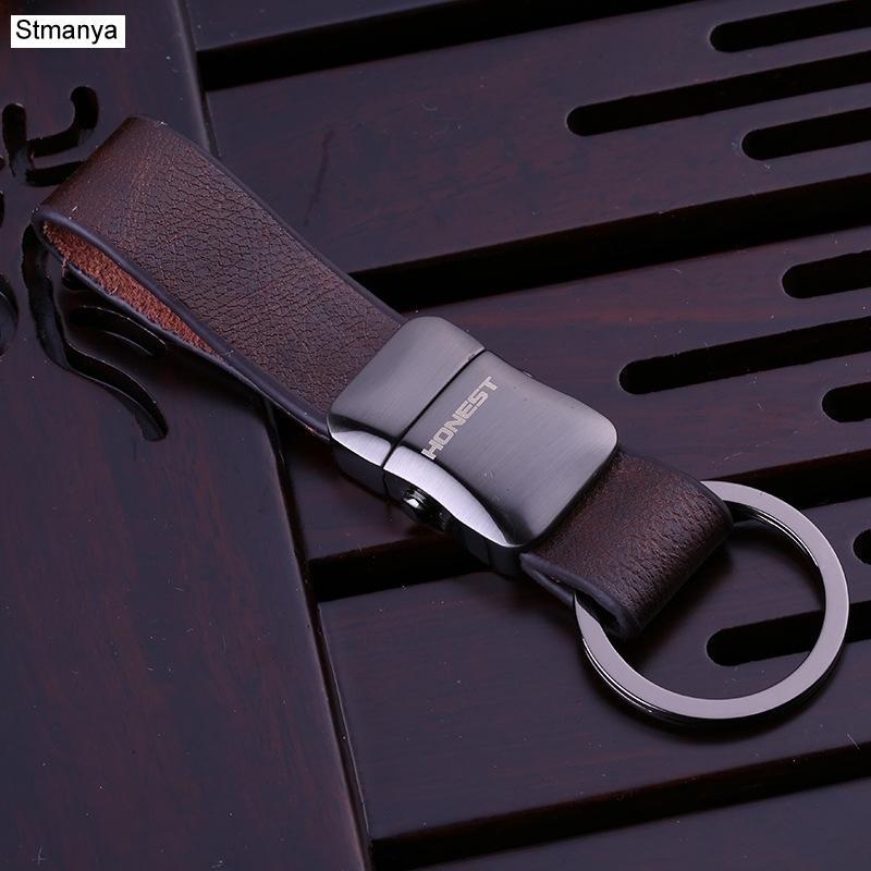 Stmanya haute qualité Top métal hommes Porte-clés Porte-clés voiture Bague affaires porte breloque sac en cuir cadeau Bijoux 17390