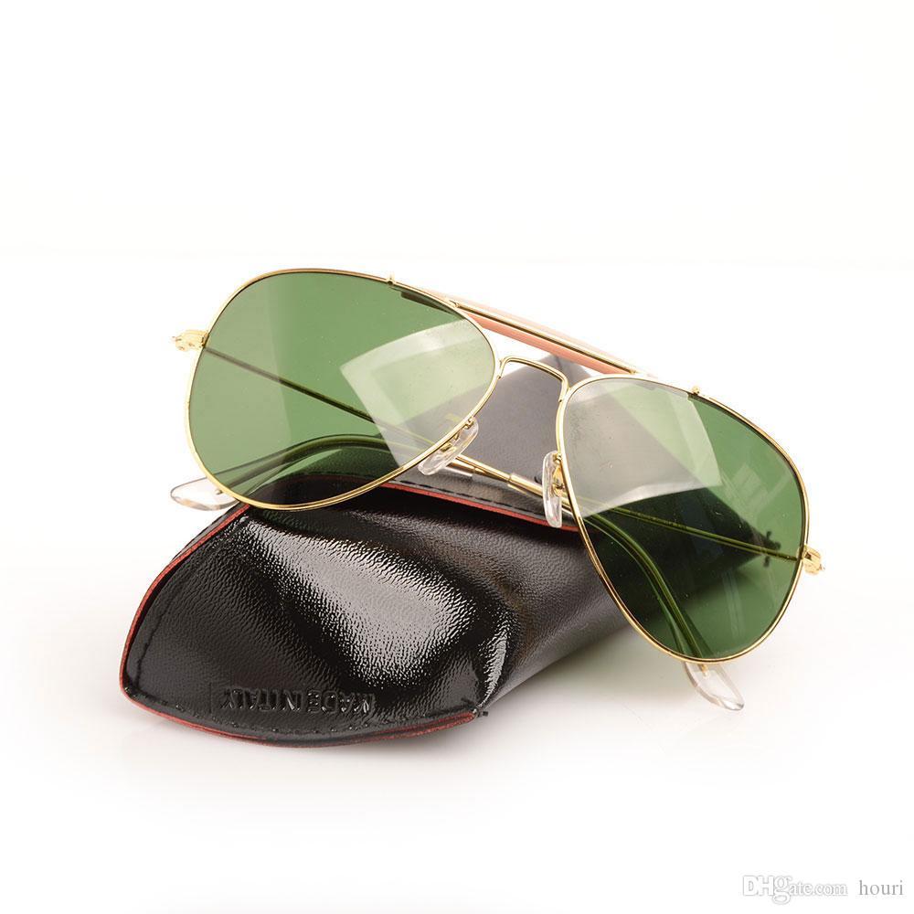 10 STÜCKE Glaslinse Herren sonnenbrille pilot shooter brille Marke Designer Womans Sonnenbrille UV schutz sonnenbrille mit Original fall