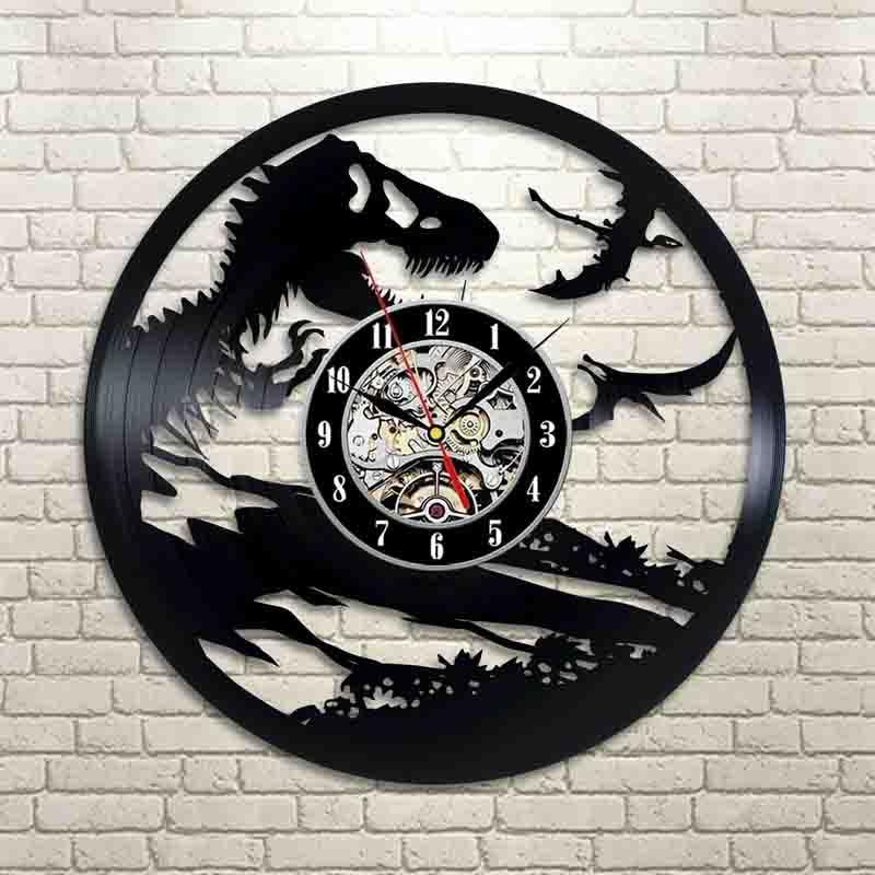 Jurassic Park Art Vinyl настенные часы Подарок номер Современный дом Vintage Decorati Handmade Art Personality подарков (Размер: 12 дюймов, цвет: черный)