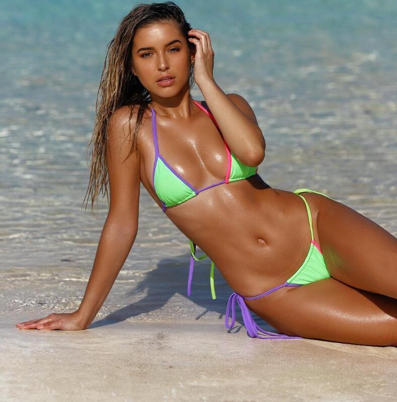 Patchwork Sexy 2020 Bikini-gesetzte Frauen Badeanzug Mode Badeanzug Thong Zweiteilige Badebekleidung Sommer-Strand-Abnutzungs-Badeanzug weiblich Biquini