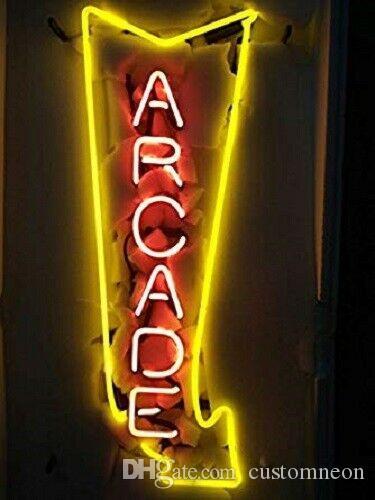 """17 """"Arcade Arrow SALA DE JUEGOS HOMBRE CUEVA TIENDA ABIERTA BARRA DE CERVEZA CLUB DECORACIÓN DE PARED LÁMPARA DE NEON SIGNO DE LUZ"""