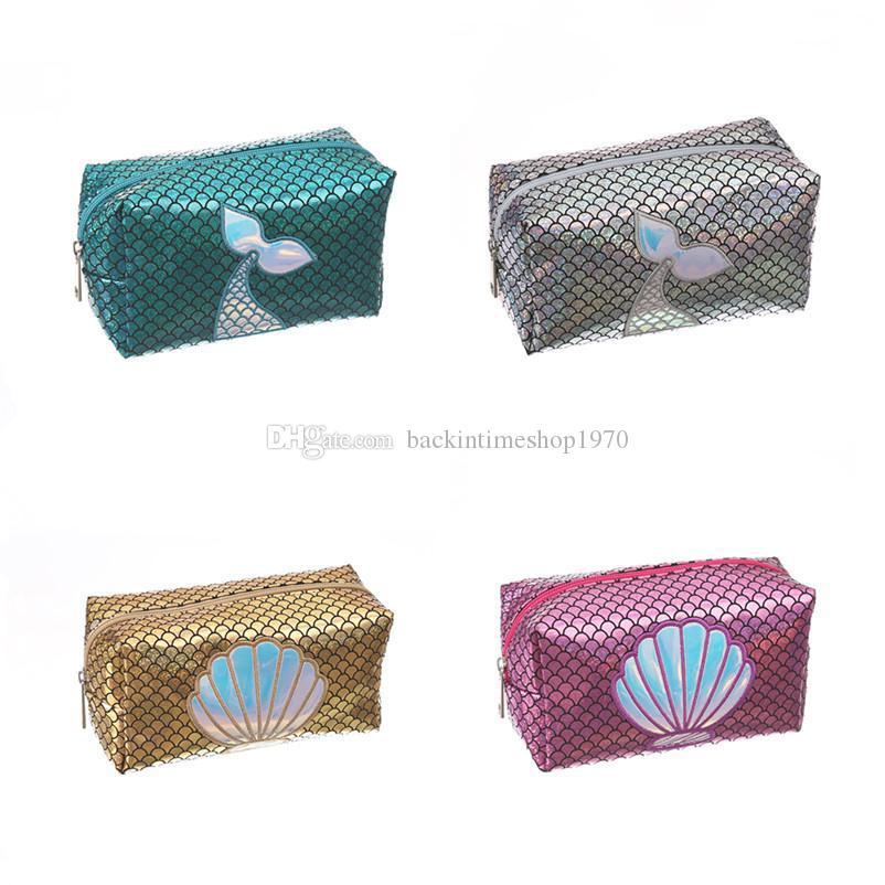 Women Mermaid laser Cosmetic bag cartoon cute children kids Fish scale wallet handbag student Pencil case