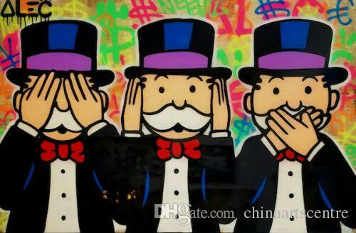 -vA. Tuval Wall Art Ev Dekorasyonu G20 üzerinde Alec Tekel Handpainted HD Baskı Özet Graffiti Sanat Yağlıboya Resim Üç Maymun haraç
