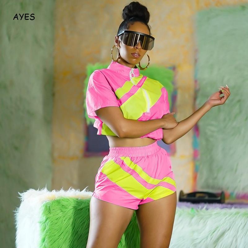 2020 Frauen Trainingsanzüge Set Pink 2-teiliges Set beiläufige Sommer-Zweiteilige Sets Plus Size Tracksuits Frauen Crop Top und Shorts Outfit T200616