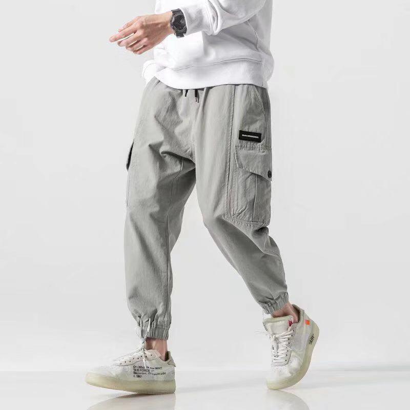 Männlich Jahrgang Street Hip Hop Cargo Pants Männer Multi-Tasche lose beiläufige Harem Hosen Jogger Jogginghose