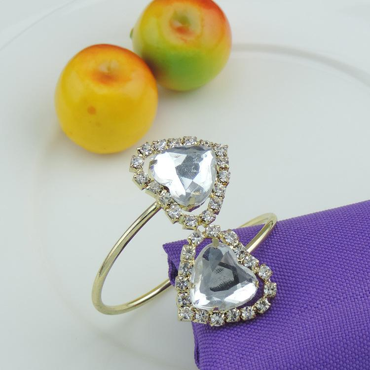 5PCS rhinestone alloy napkin ring European wedding supplies gold / silver napkin buckle
