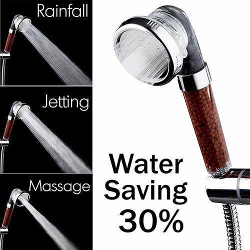 Transparent Handheld Anion SPA Water-saving Bath Spray Shower Head Nozzle Filtration Hand Showerhead High Pressure 3 Function Massage Spa