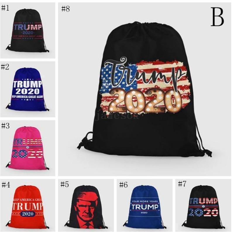 Trump Disegna Rope Borse 24 stili di borsa di immagazzinaggio 2020 del modello degli Stati Uniti Elezioni presidenziali Trump campagna Shopping Bag Beach Bag DHF227