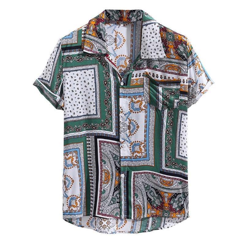 Plus Size à manches courtes T-shirt d'été 2020 Mode Streetwear Casual Vintage loose Flroal imprimés Chemises hommes Camisa Masculina