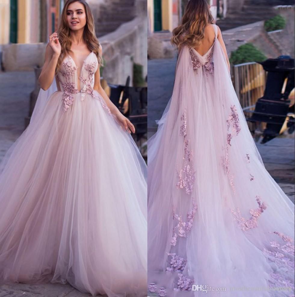 Light Purple Lace Bohême une ligne robes de mariée 2020 Sheer Tulle Applique dentelle balayage train de mariage Robes de mariée