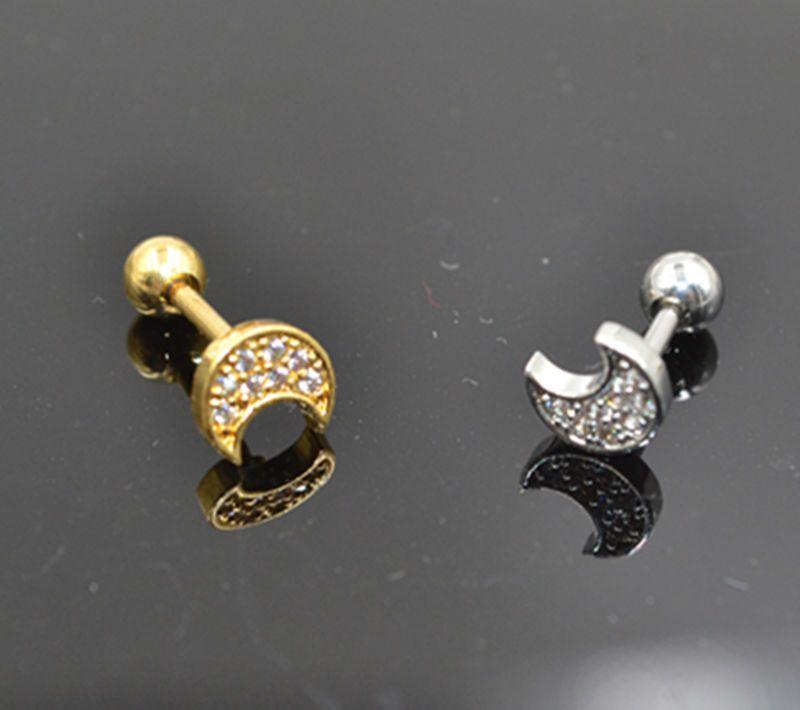 Lot10pcs Body Jewelry-Moon CZ Gems Ear Studs/Earring Helix Bar Upper Earring Body Piercing Diath Cartilage Earring 16g New