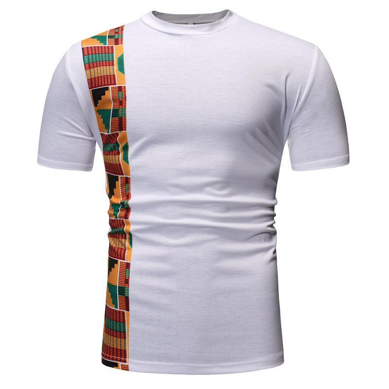 Beyaz Patchwork Afrika dashiki Baskı T Shirt Erkekler 2020 Yepyeni Kısa Kollu Tee Gömlek Homme Streetwear Casual Afrika Giyim
